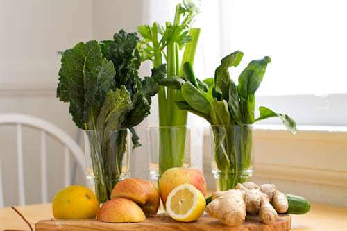 Spring cleanse with green foods, ginger, lemon.